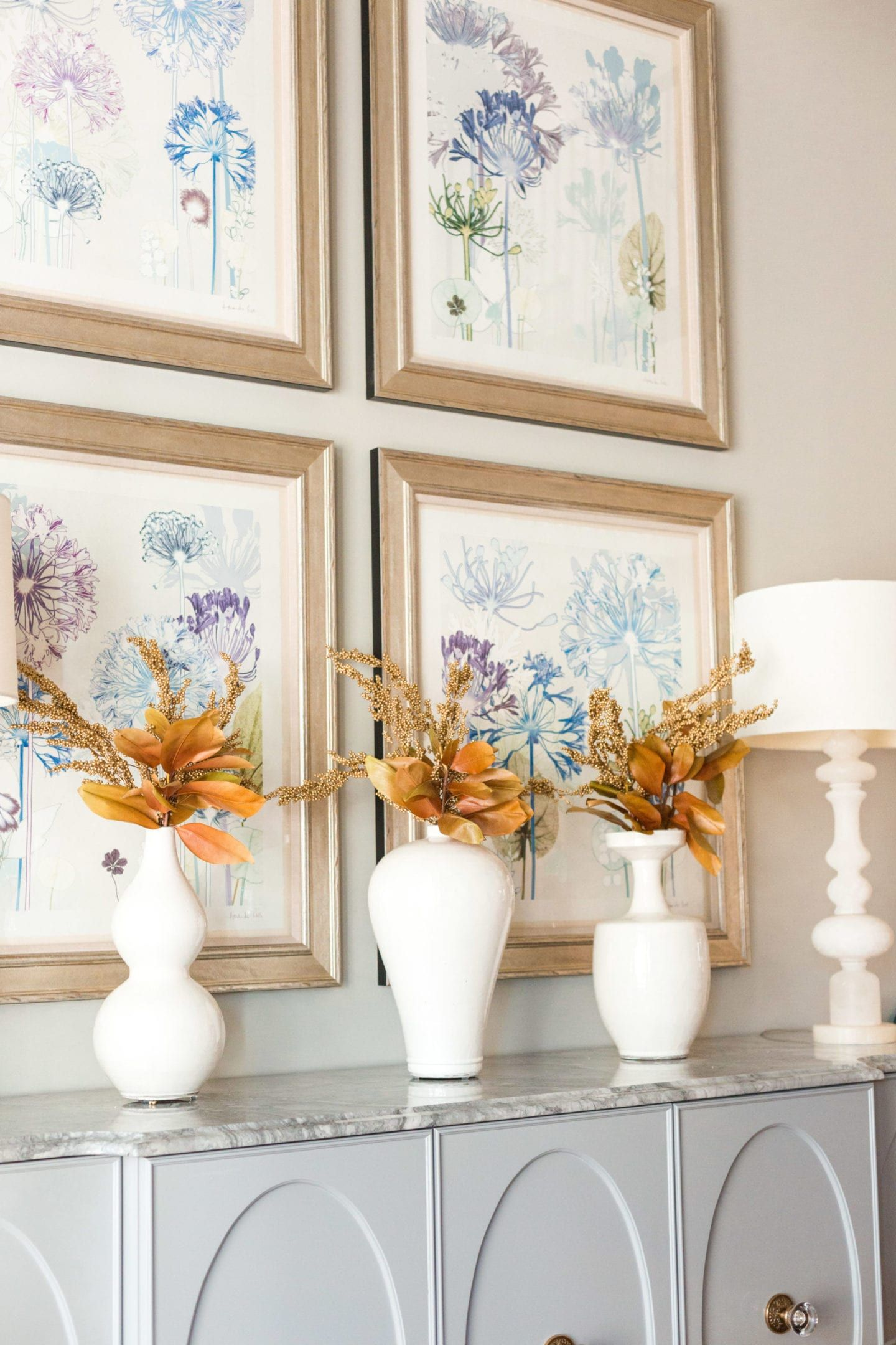 White Frontgate Vases With Brown Fall Leaves