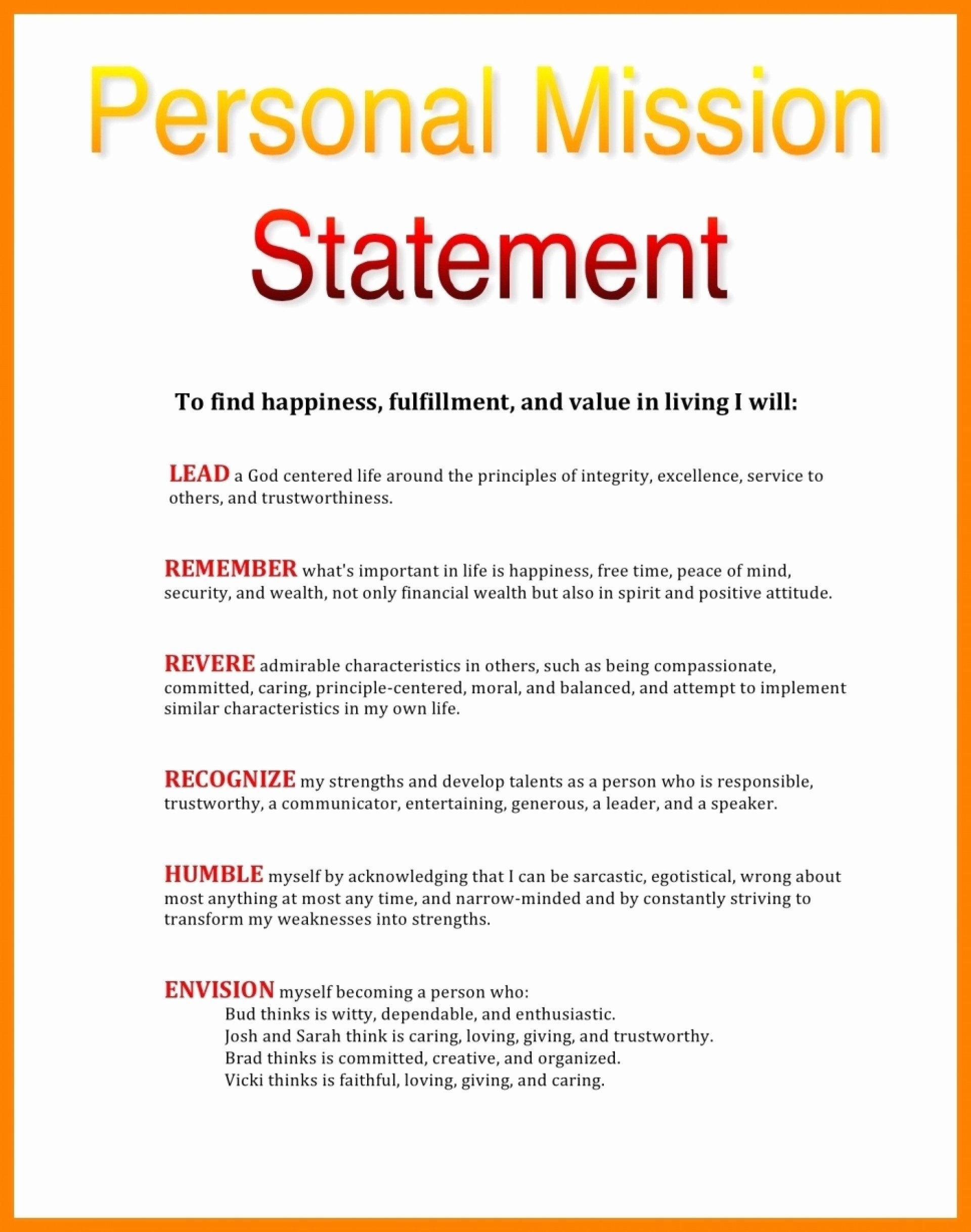 Personal Mission Statement Template Awesome 10 Example Of V Vision Examples Maker