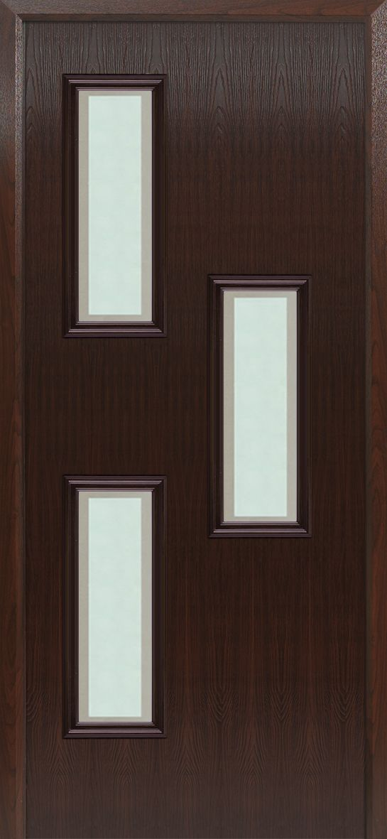 Our 'Ainos' #composite #door in rosewood with the 'Cubist' glass design.