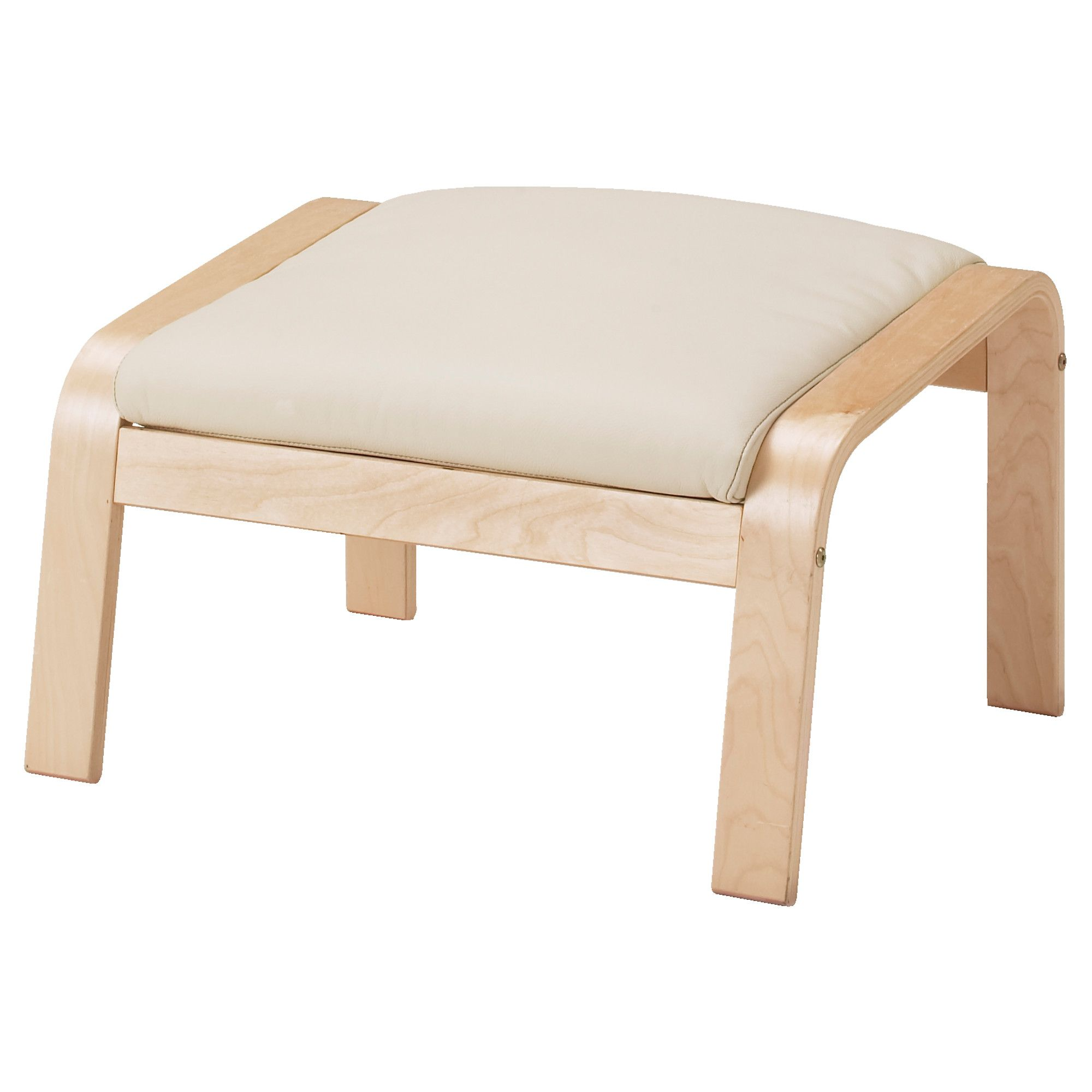 $89 Off White Leather POÄNG Footstool   Robust Off White, Birch Veneer    IKEA