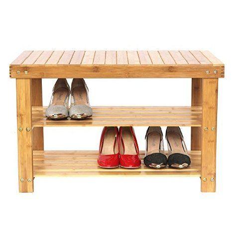 Songmics Sitzbank Und Schuhregal Schuhablage Regal Bambus Sitzbank