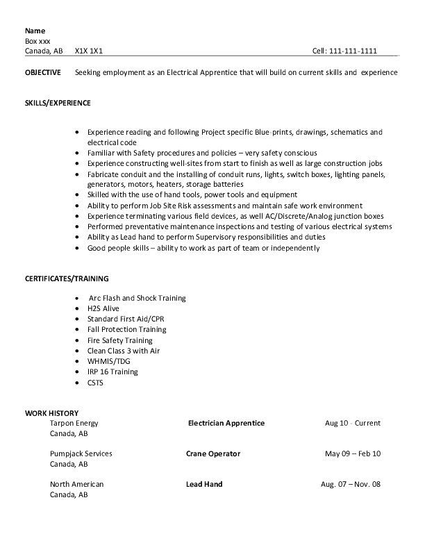 resume sample - electrical apprentice College to Career