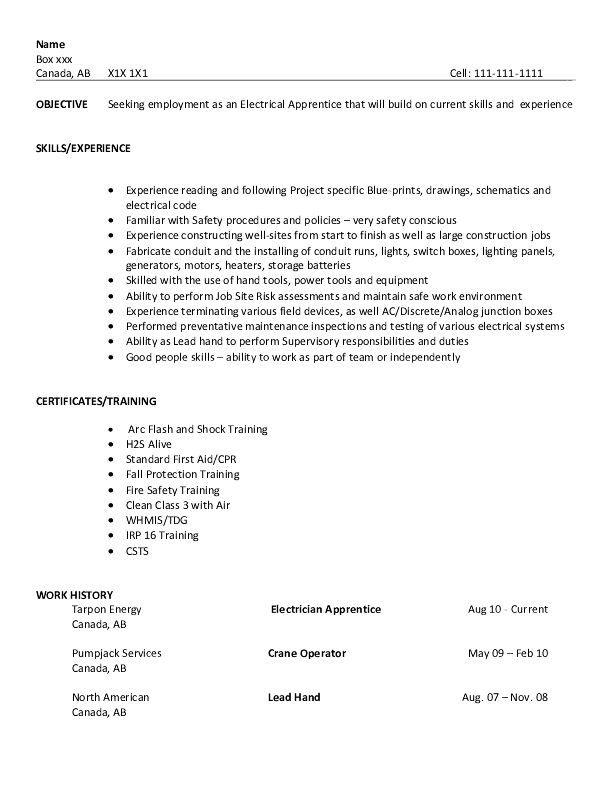 Resume Sample Electrical Apprentice Job Resume Samples Job Resume Examples Sample Resume