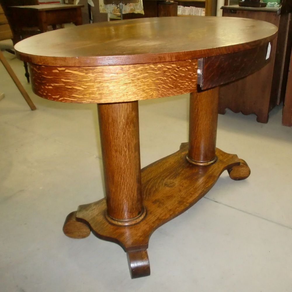 Antique Oak Library Table Desk Double Pedestal Empire Feet