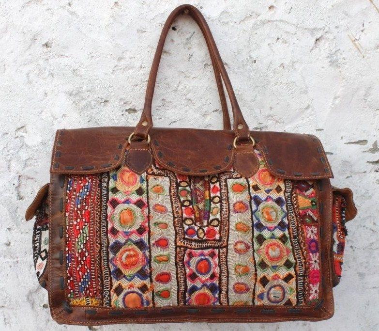 25297cbf86 Beautiful Indian Handmade Gypsy bohemian banjara bags Ethnic leather doctor  traveling bag women hand bag needle work