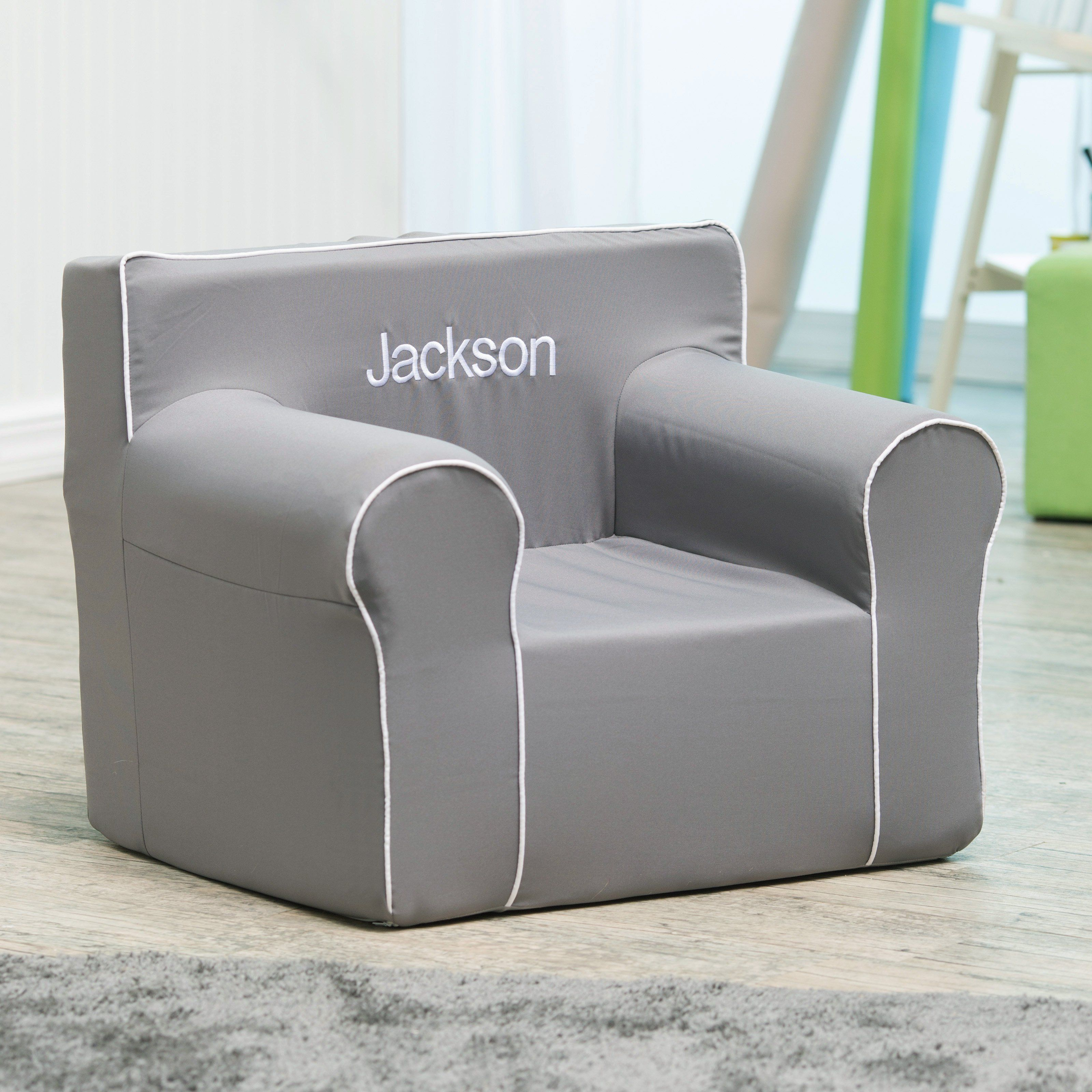 Here and There Personalized Kids Chair Gray Canvas with White