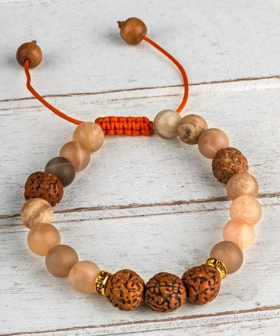 Moonstone Bracelet, Meditation Bracelet, Mala Bracelet, Yoga Bracelet, Women Bead Bracelet, Rudraksha Prayer Beads