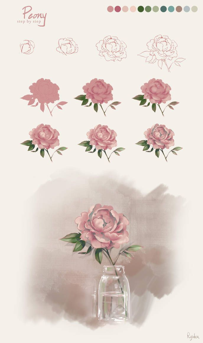 Flower tutorial peony by nyanfood drawing in pinterest