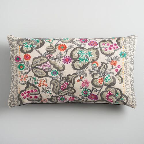 Oversized Embroidered Fantasy Floral Lumbar Pillow Metallic Throw Pillow Floral Pillows Pillow Crafts