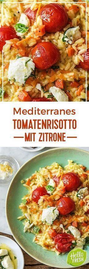 Mediterranes Tomatenrisotto mit Zitrone, mariniertem Basilikum-Mozzarella und Hartkäse #mediterraneanrecipes