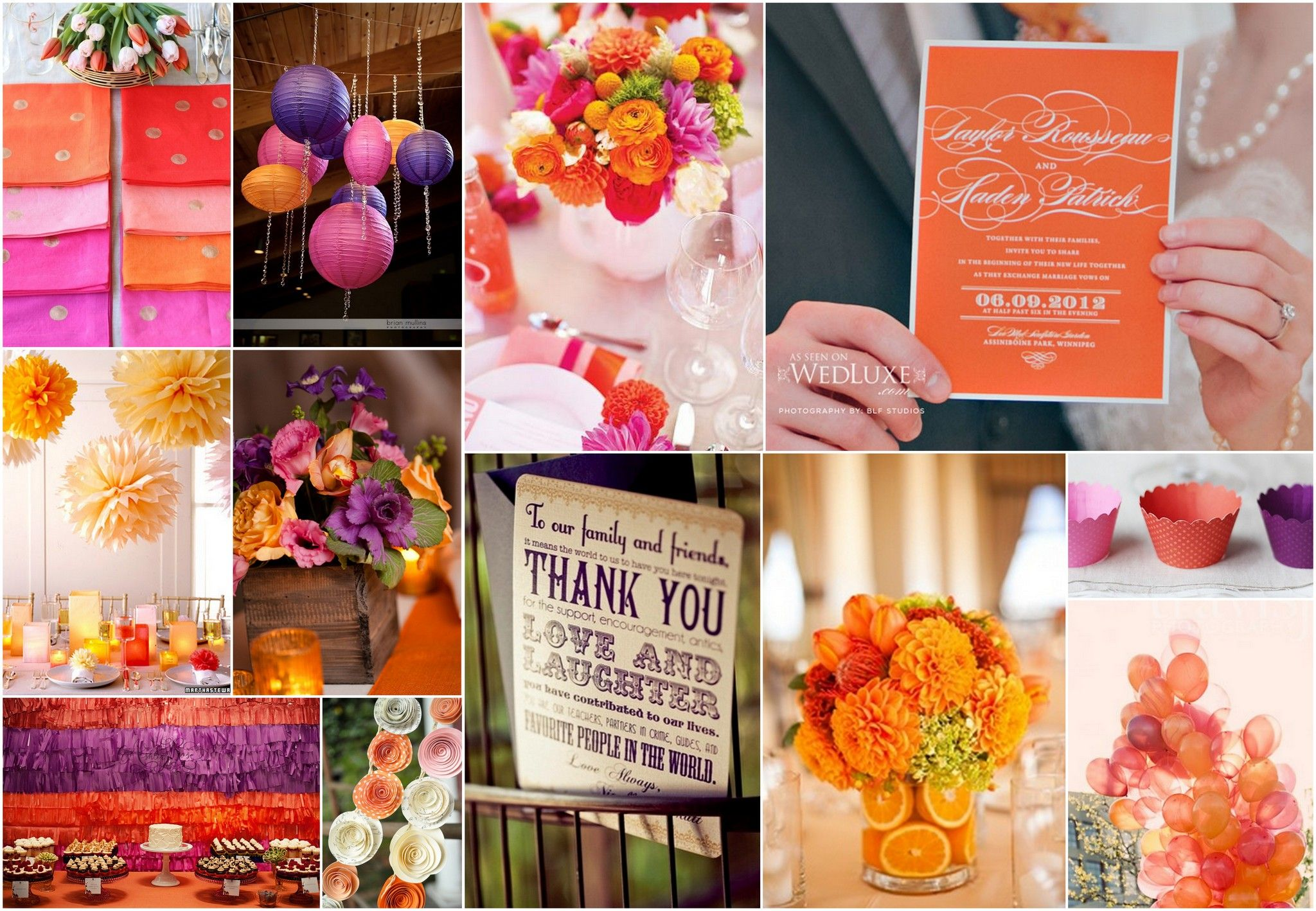 Pink Purple And Orange Wedding Decor Stationary Favors A Colorful Assortment Of Ideas Fo Orange And Pink Wedding Orange Wedding Themes Pink Wedding Theme