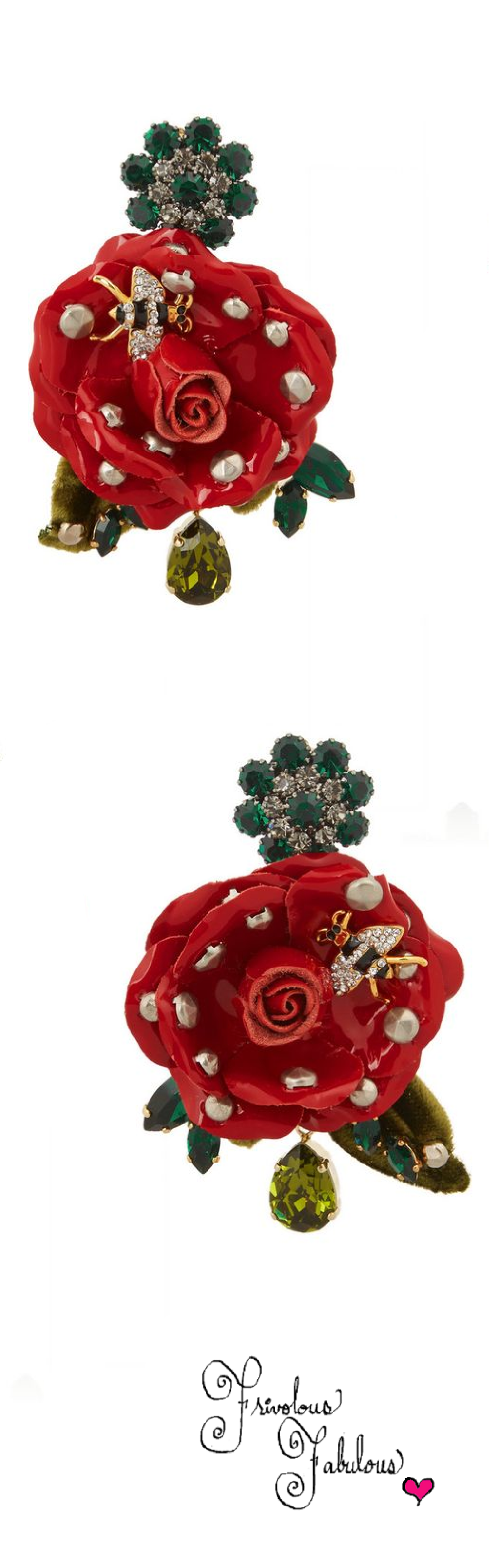 Frivolous Fabulous - Dolce & Gabbana Gold Plated Swarovski Crystal and Patent Leather Clip Earrings