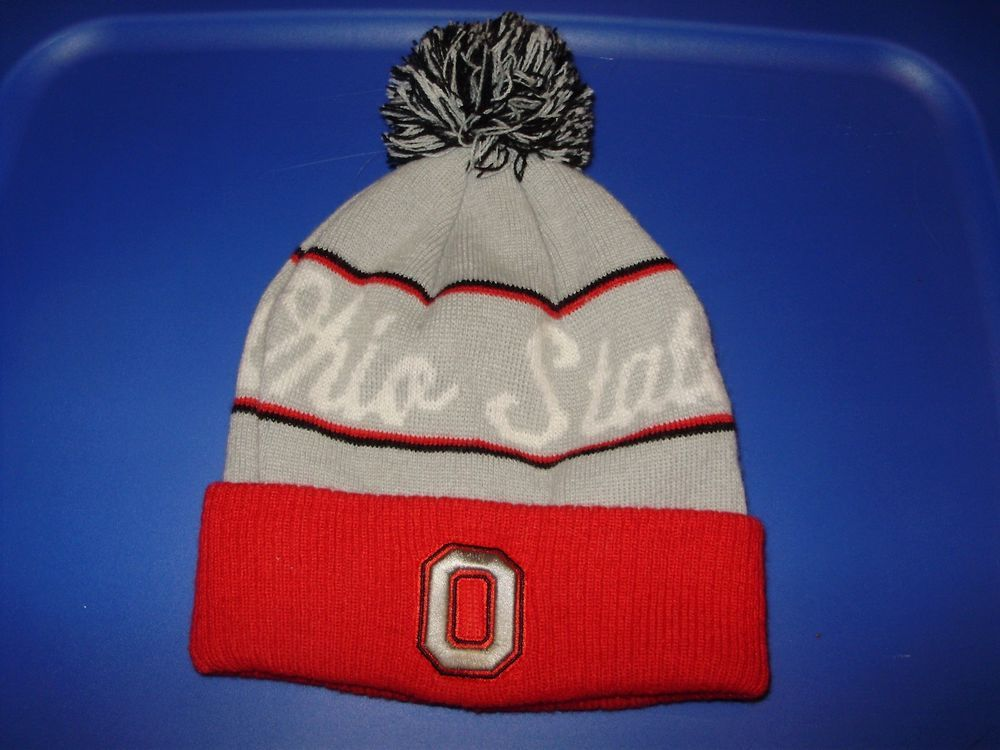 b9166fddbac8fe Ohio State Buckeyes Adult Winter Pom Pom Hat Red Gray Embroidered M  #OSUwear #winterhat