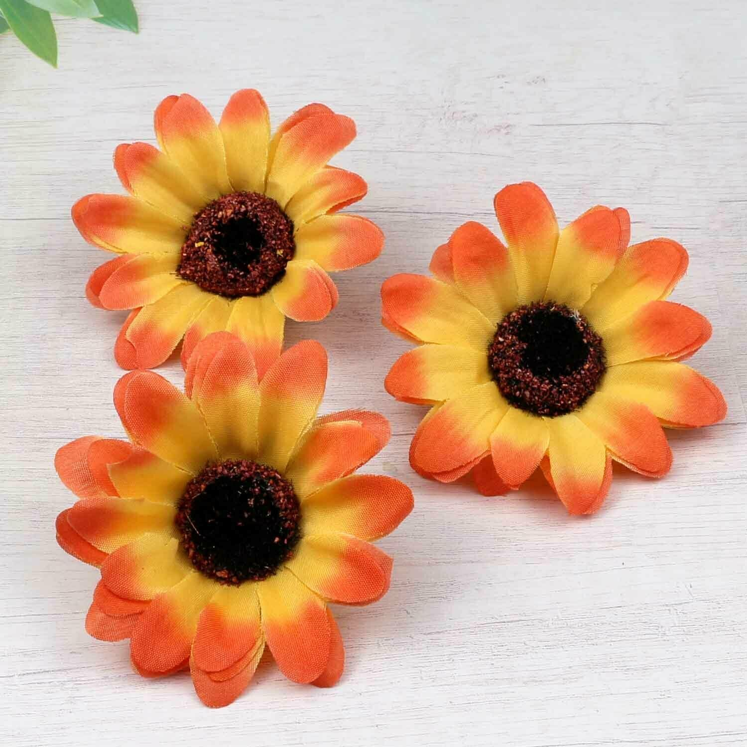 Details about Artificial DIY Silk 7cm Orange Sunflower Flower Head Wreath Home Wedding Decor #flowerheadwreaths