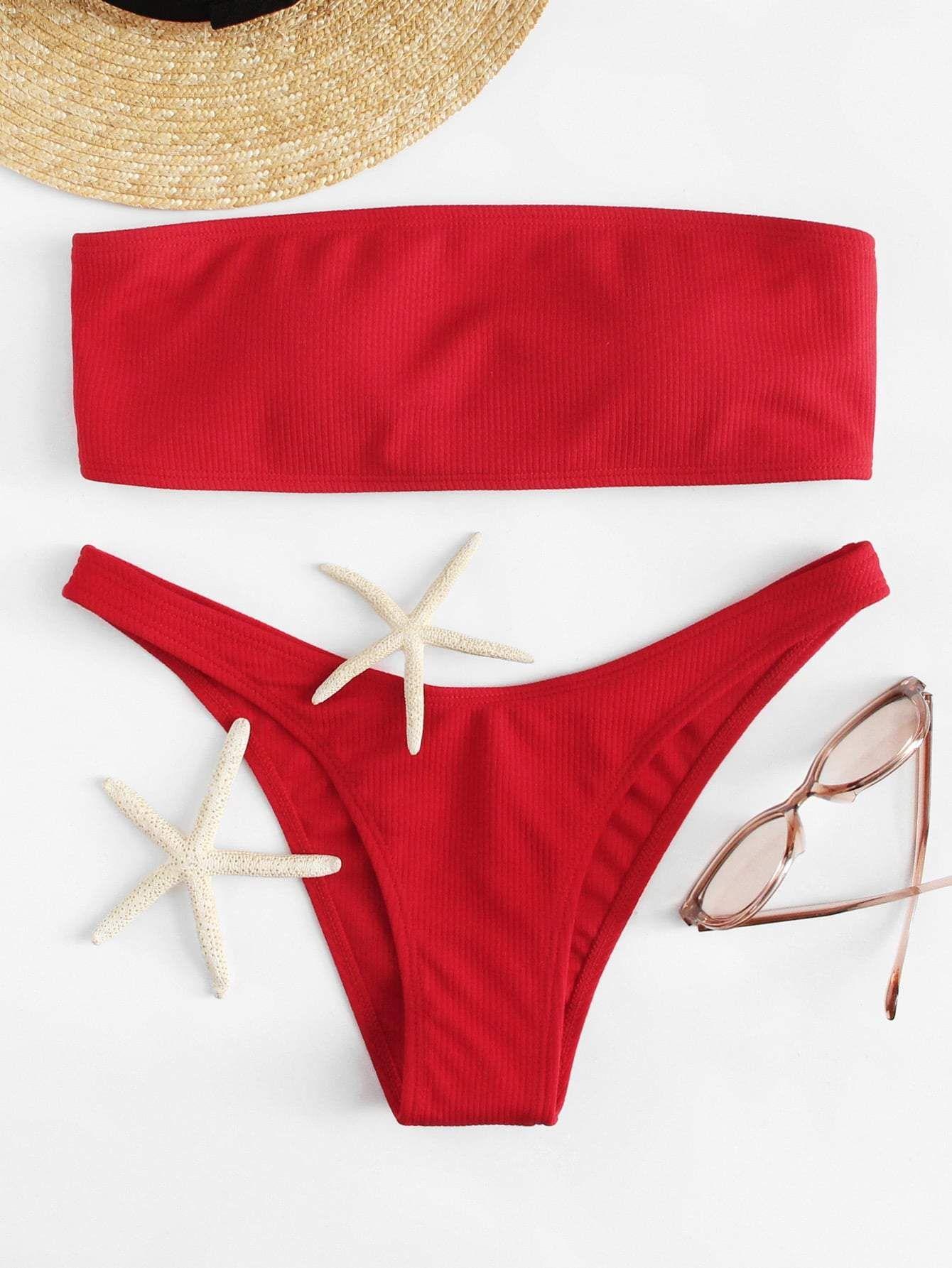 caa7c293ee lace up back bandeau with ribbed bikini set.  swimwear  beachwear  women   fashion