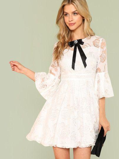 82ed8f0ec2160a Shop Bow Detail Floral Lace Panel Fit & Flare Dress online. SheIn ...