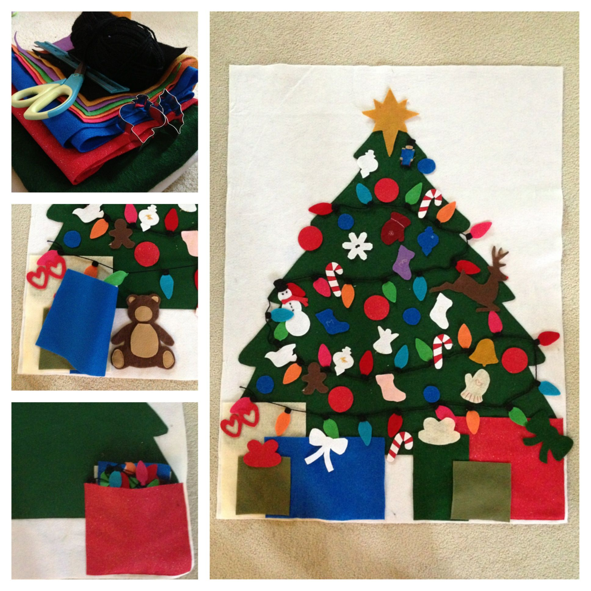Kids Felt Christmas tree - Use felt, yarn, and cookie cutters to ...