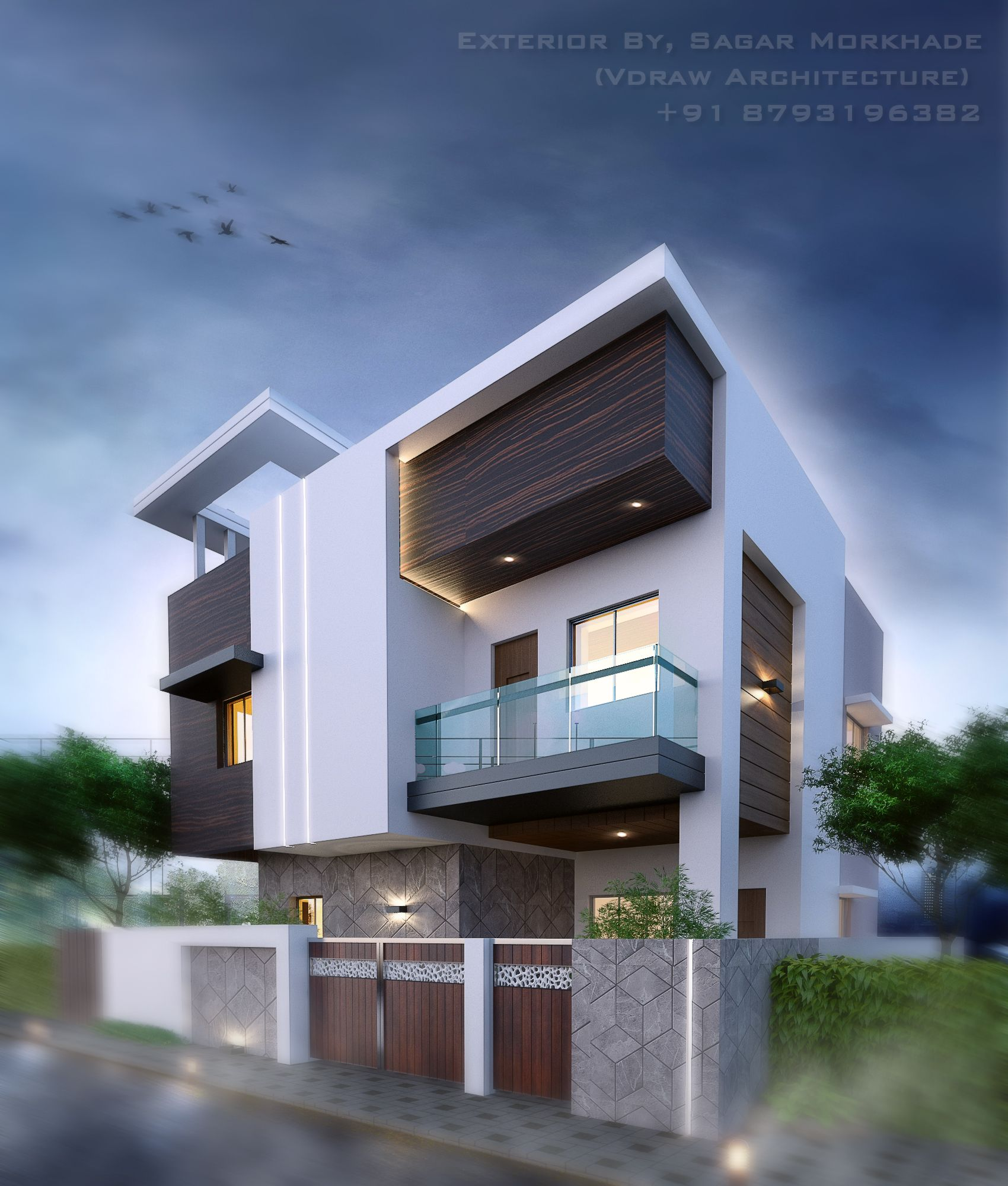 New Home Designs Latest Modern Interior Decoration: Modern Bungalow Exterior By, Sagar Morkhade (Vdraw