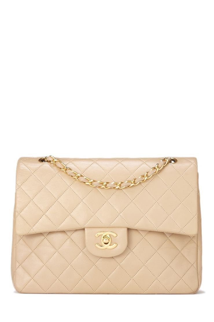 2a53a8ce0633 WHAT GOES AROUND COMES AROUND Beige Quilted Lambskin Classic Double Flap  Medium Tall - Chanel. #whatgoesaroundcomesaround #bags #shoulder bags  #leather ...