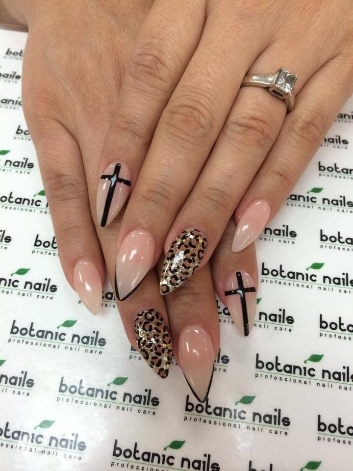 On we heart it nails pinterest short stiletto nails nail stiletto nails cross and leopard nail art prinsesfo Images