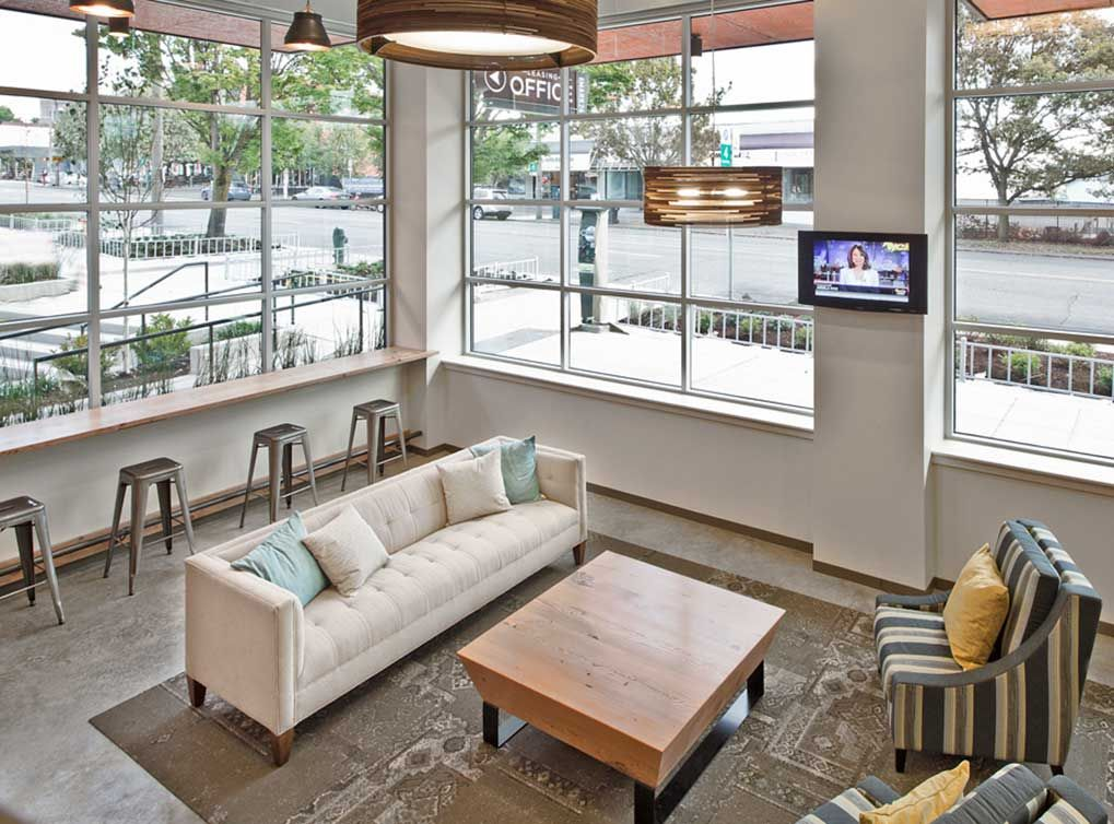 lobby with ample seating at AMLI Mark24, Seattle