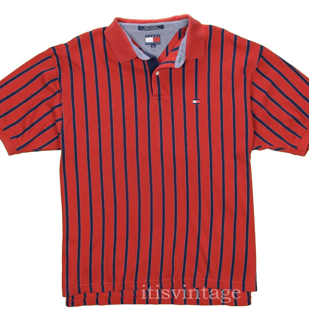 6ee13567 Tommy Hilfiger Shirt Vintage Striped Polo XL Patch Red Gabardine Cotton  Twill #TommyHilfiger #Polo #tommy #hilfiger #polo #gabaradine #itisvintage  ...