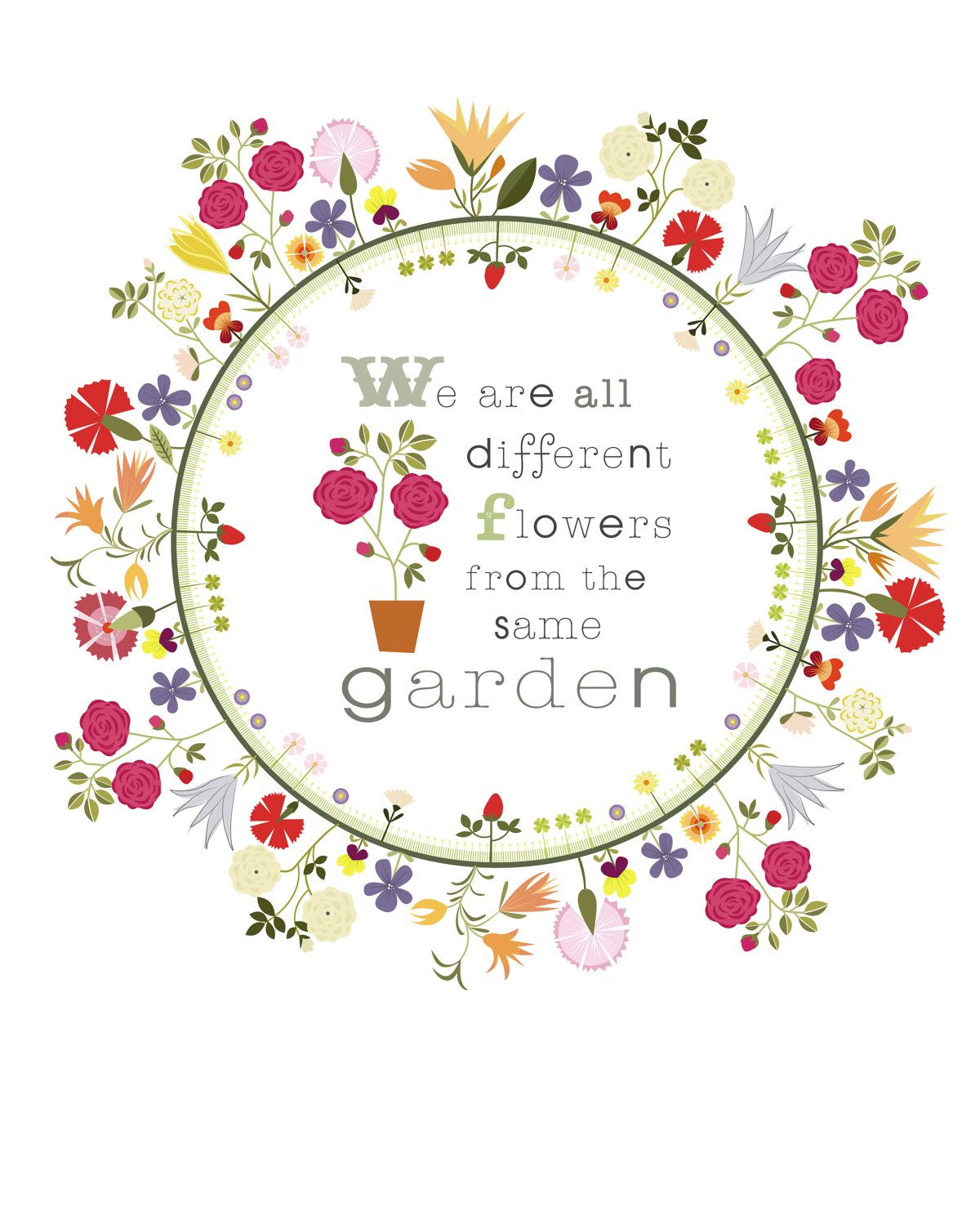 Cbyc Original Illustration Flower Circle Garden Quote Limited