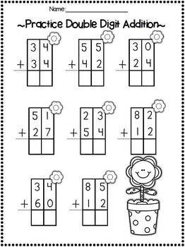 double digit adding subtracting w no regrouping spring printables special education. Black Bedroom Furniture Sets. Home Design Ideas