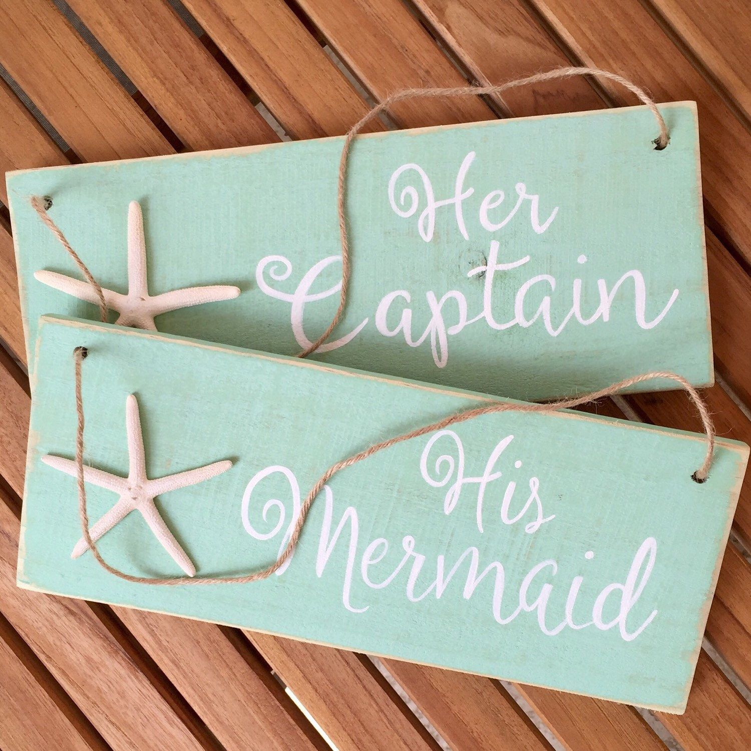 A Personal Favorite From My Etsy Shop Https Www Etsy Com Listing 289631907 Made To Order His Mermaid Her Captain Wedding Chair Signs Mermaid Sign Chair Sign