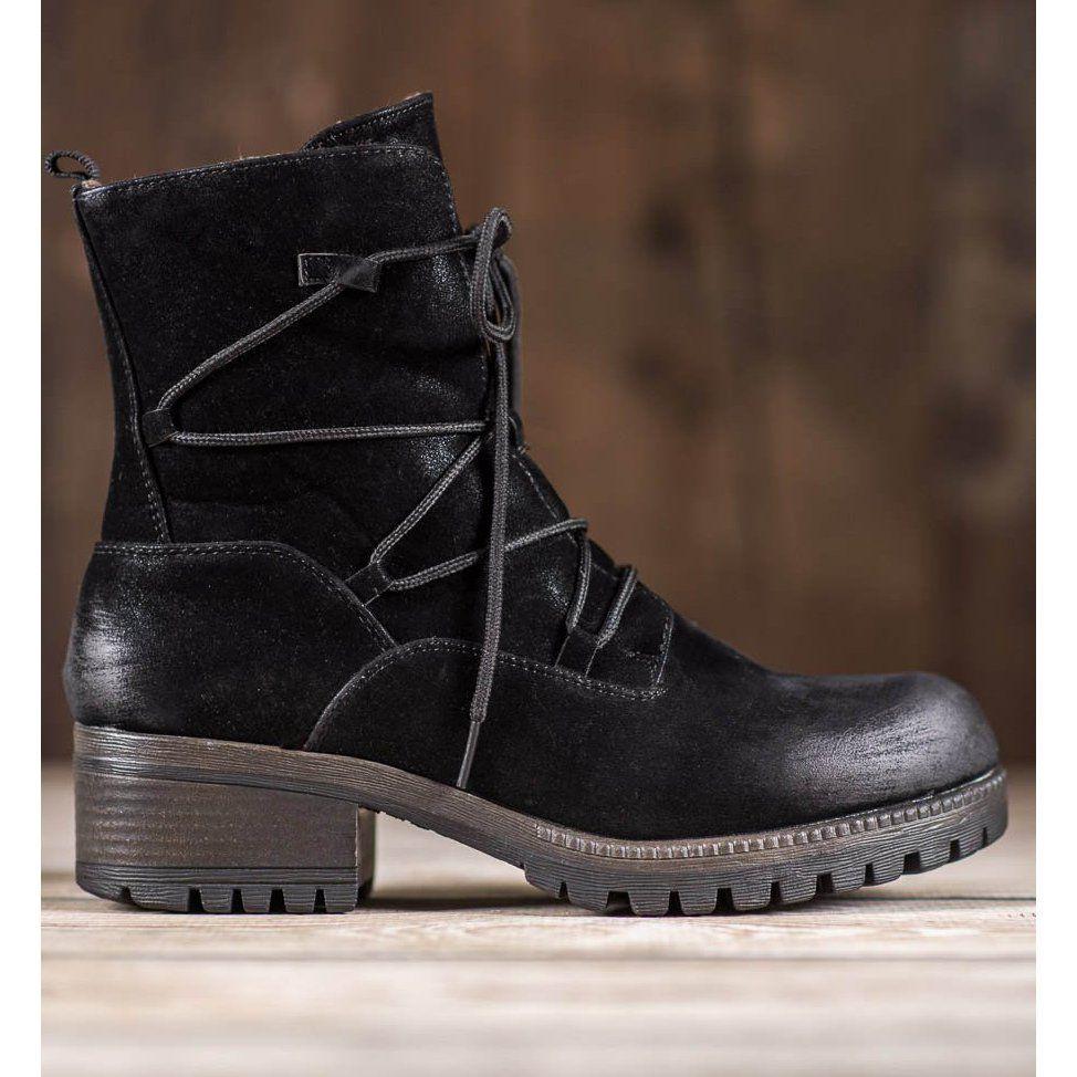 Botki Damskie Kylie Kylie Sportowe Workery Czarne Boot Shoes Women Boots Womens Boots
