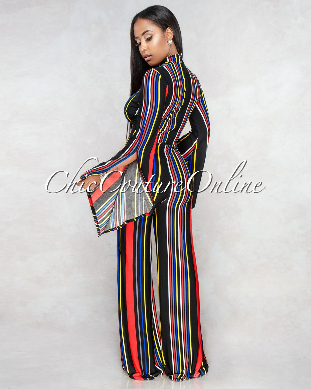 d74d20087861 Chic Couture Online - Sarena Black Red Yellow Stripes Jumpsuit