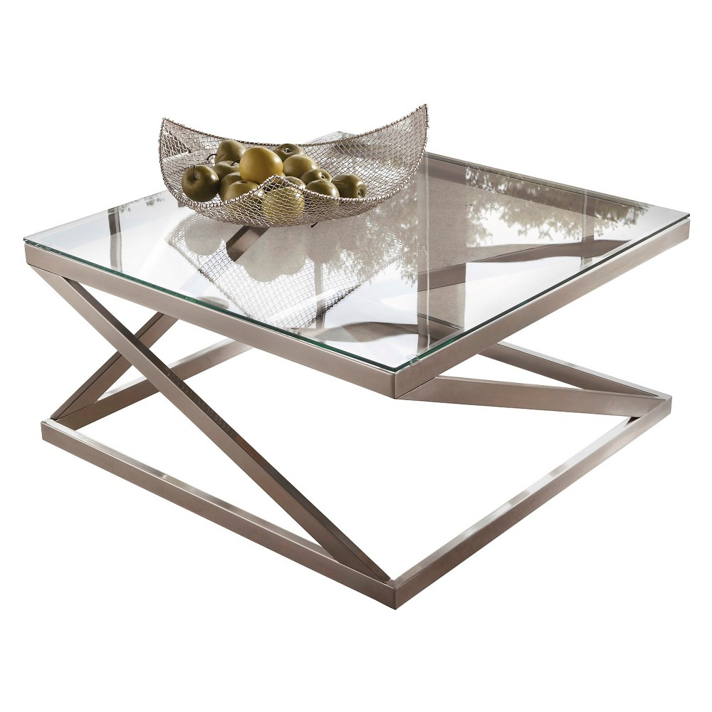 Coylin Square Cocktail Table Brushed Nickel Finish Signature Design By Ashley Grayst Contemporary Glass Coffee Tables Square Glass Coffee Table Coffee Table [ 1000 x 1000 Pixel ]