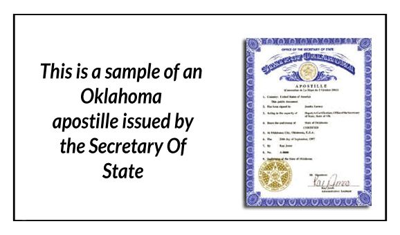 State of Oklahoma Car Title sealed by a Public Notary State of - copy apostille birth certificate massachusetts