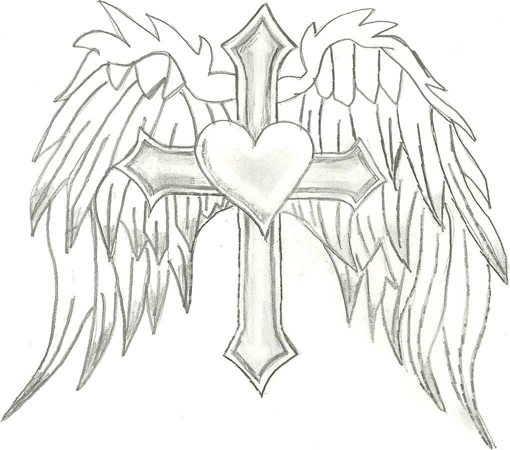 heart with wings and cross drawings coloring pages heart