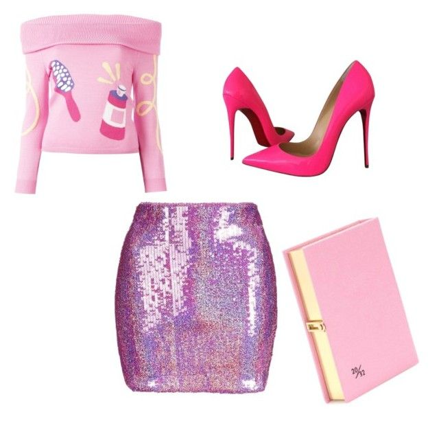 """Pink barbie"" by domstyle on Polyvore featuring Jeremy Scott, Topshop, Christian Louboutin and Olympia Le-Tan"