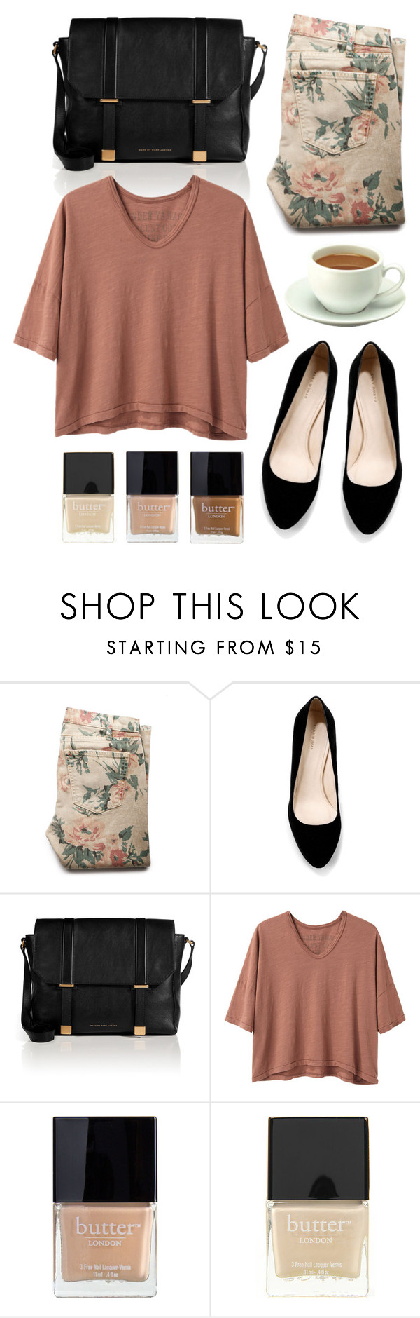 Untitled by hanaglatison on Polyvore featuring Alexander Yamaguchi, Current/Elliott, Zara, Marc by Marc Jacobs and Butter London