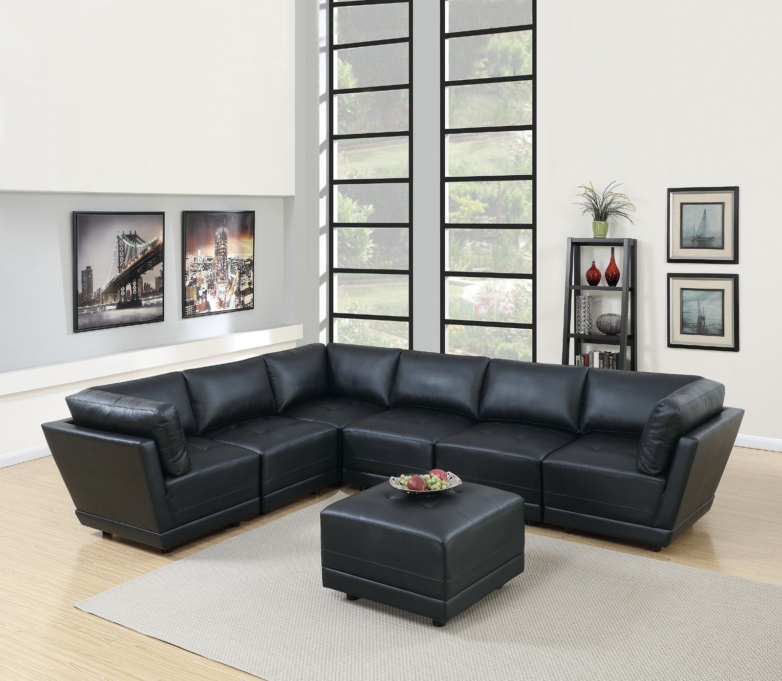 7pc Sectional Black Leather Tufted 3 Armless Chairs 3