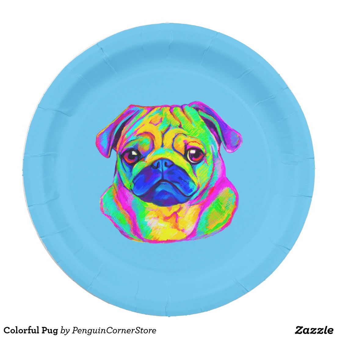 Colorful Pug Paper Plate Invites Party Birthday Pinterest