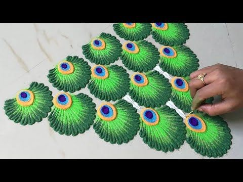 Very easy & irresistible Rangoli for Diwali | Decorative & beaut side Rangoli design for Diwali 2020