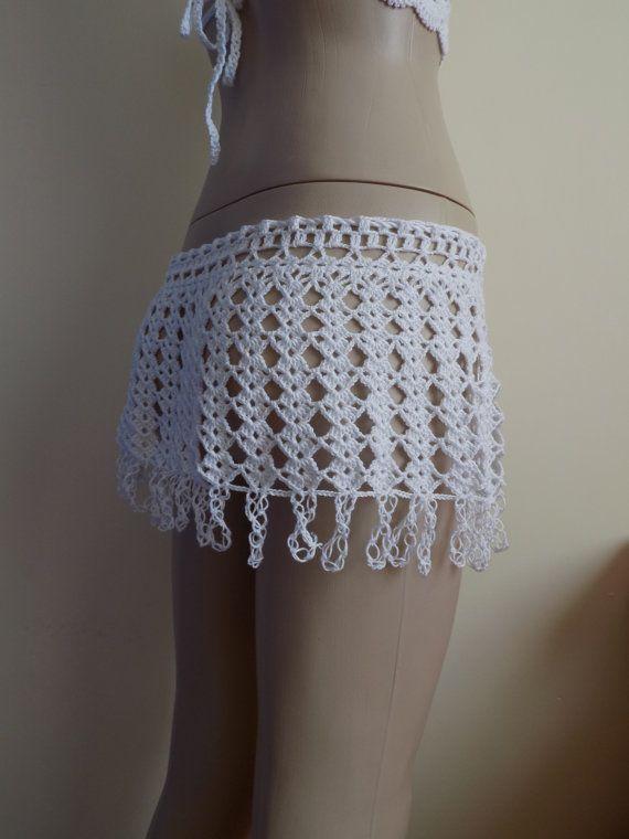 Mini falda blanca, crochet, falda, falda de encaje, falda de la ...