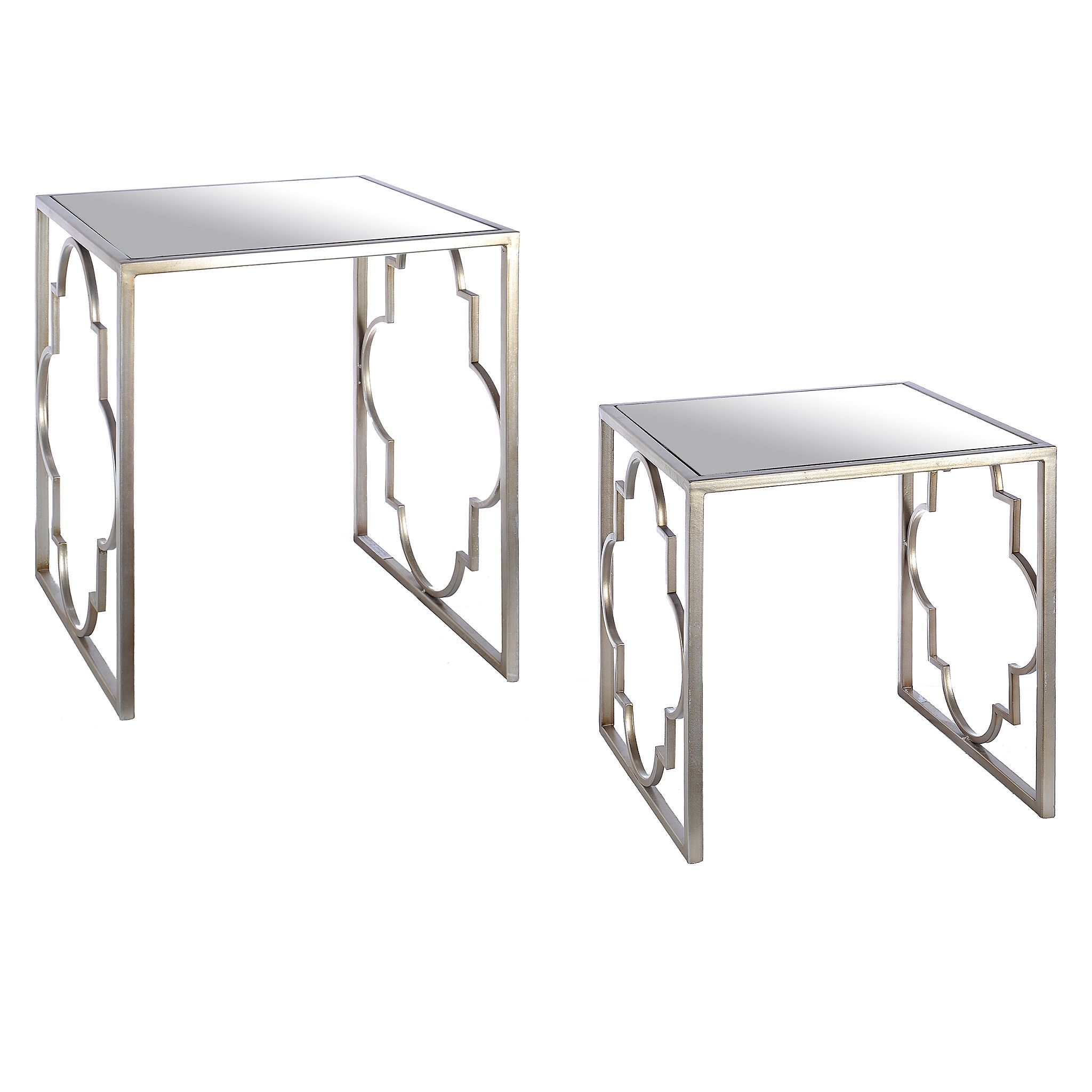 Silver Quatrefoil Nesting Tables Set of 2 Quatrefoil Tabletop
