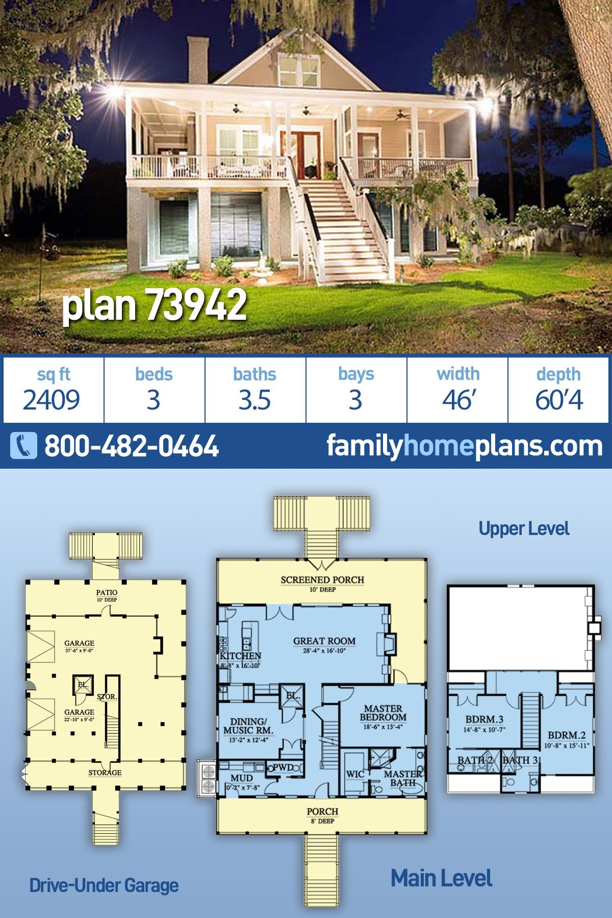Southern Style House Plan 73942 With 3 Bed 4 Bath 3 Car Garage Beach House Plans Coastal House Plans Beach Floor Plans