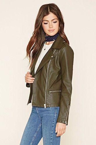 Jackets Jackets Women Forever 21 Womens Faux Leather Moto Jacket Brown Faux Leather Jacket Vegan Leather Jacket