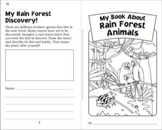My Book Of Rain Forest Animals Nonfiction Read Write Booklet Printables Rainforest Animals Nonfiction Reading Forest Animals