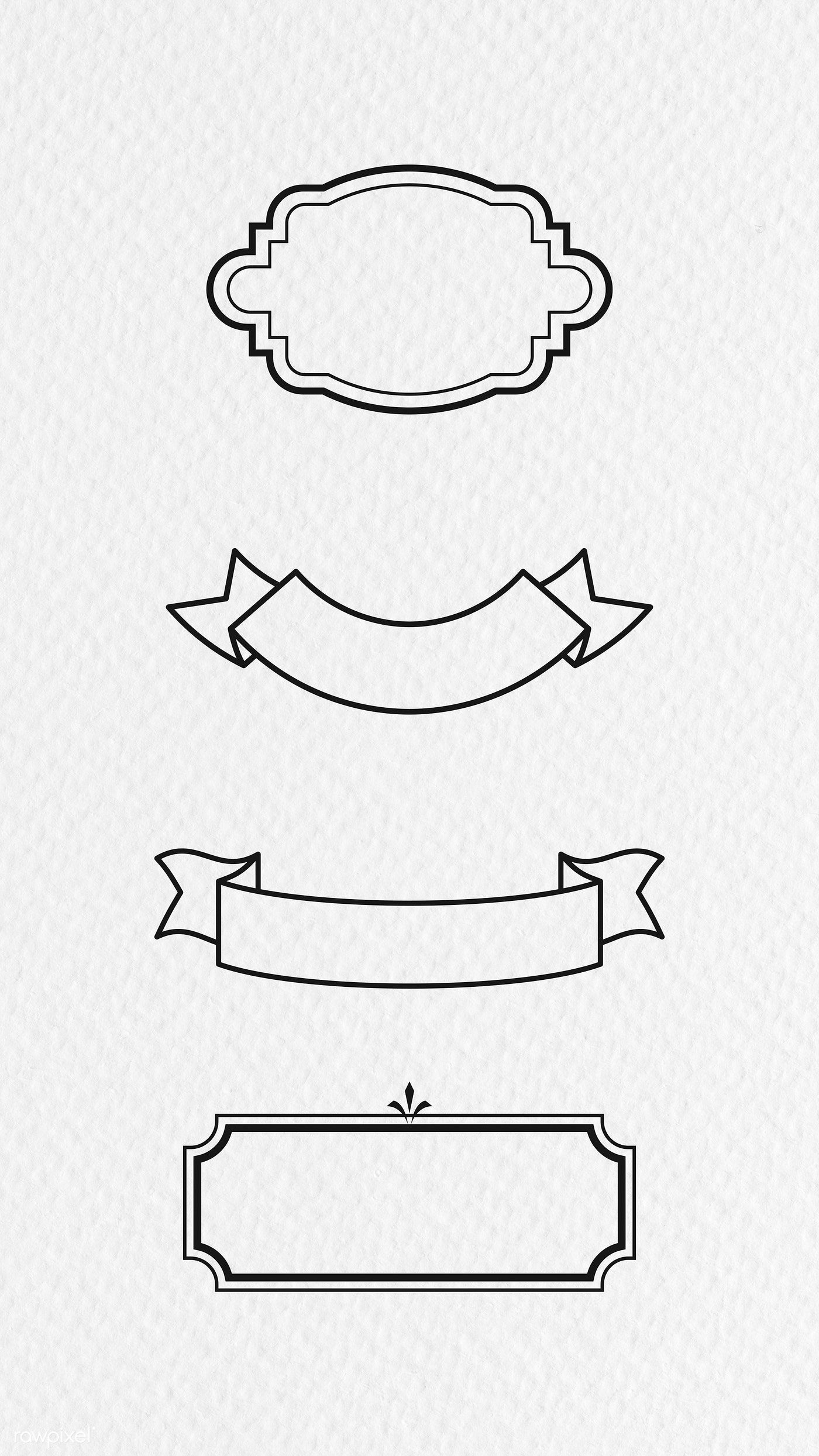Download Premium Illustration Of Vintage Label Collection 2021679 Vintage Labels How To Draw Ribbon Free Hand Drawing