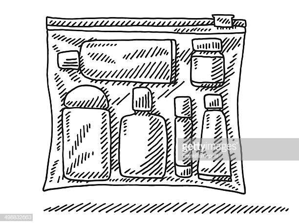 Hand Drawn Vector Drawing Of A Zip Bag With Fluids For The Airport
