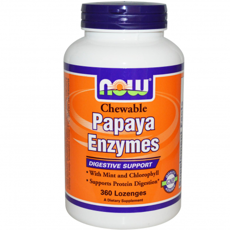 Now Foods, Papaya Enzymes, Chewable, 360 Lozenges Now