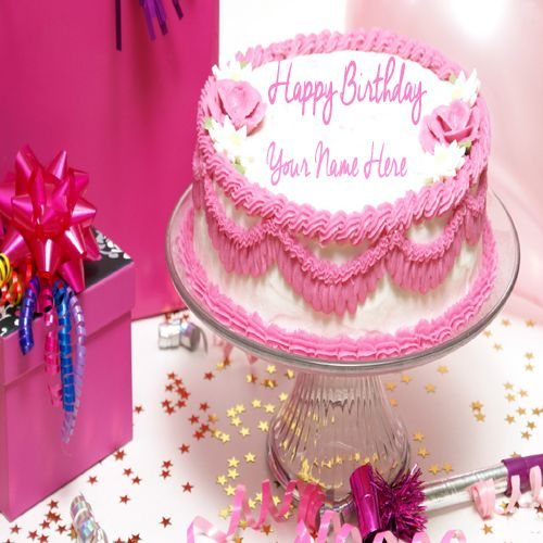 Write Your Name On Lovely Pink Flower Birthday Cake