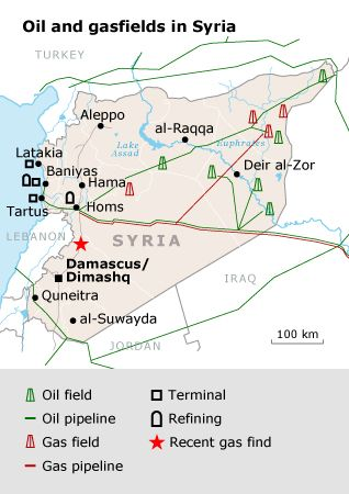 Although oil is the major export of Syria, I can find no evidence that this is associated directly with the current conflict.  It appears that the conflict is internal and related to political beliefs between the Ba'ath party and those who would like to become democratic.