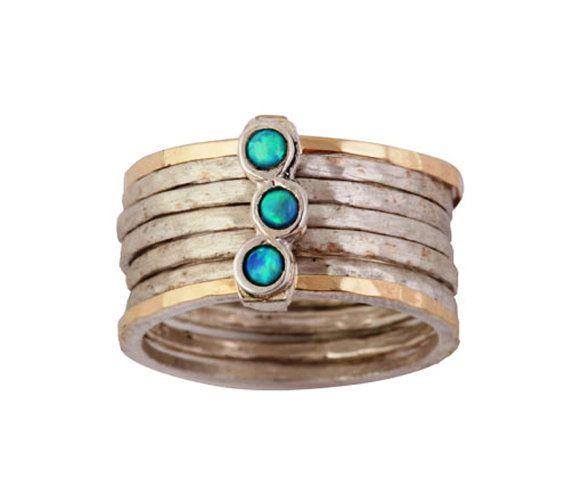 Sterling Silber Ring mit opale von Bluenoemi auf Etsy